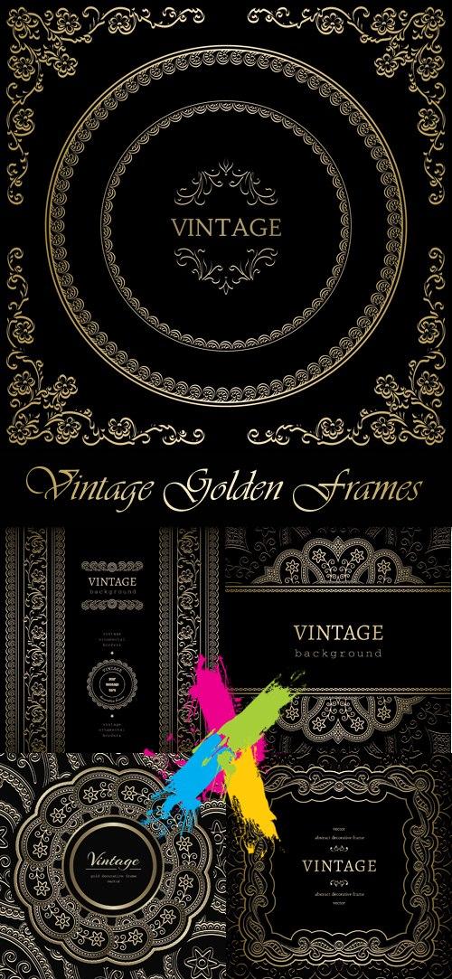 Vintage Decorative Golden Frames Vector