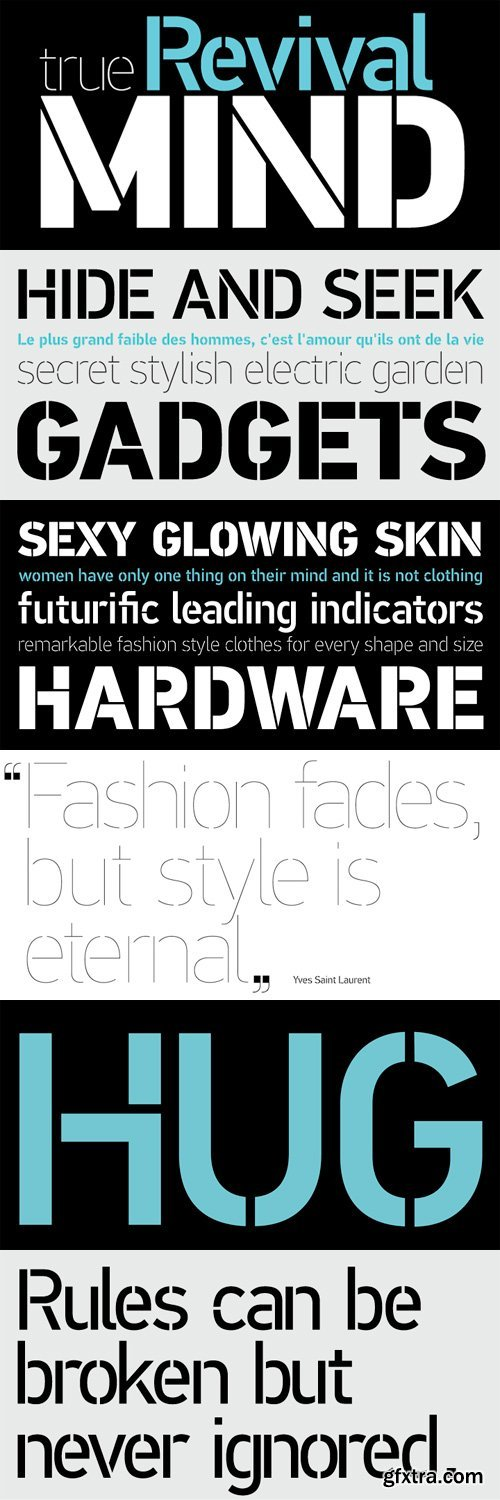PF Din Stencil Font Family - 8 Fonts for $325
