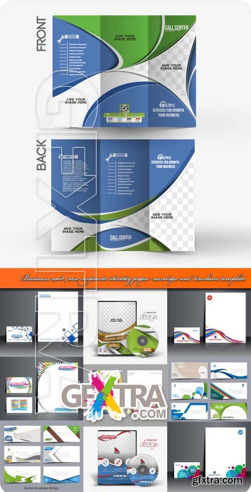 Business card DVD case corporate identity paper envelope and brochure template vector