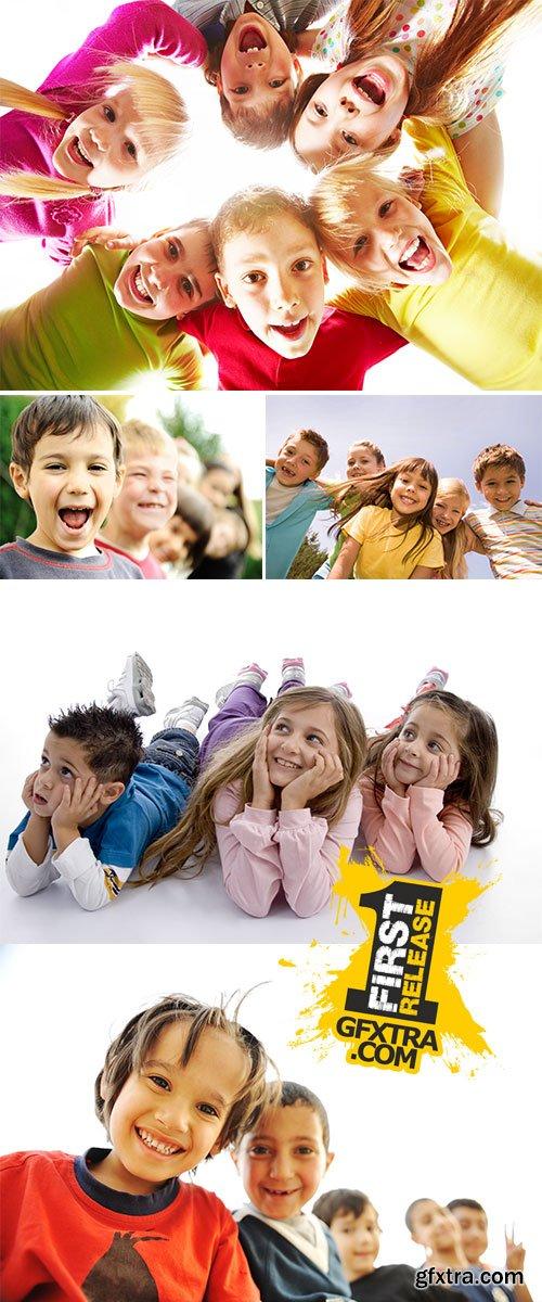 Stock Photos Below view of happy children