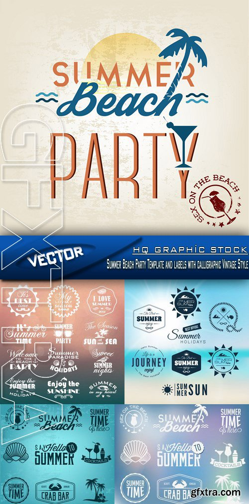 Stock Vector - Summer Beach Party Template and labels with calligraphic Vintage Style