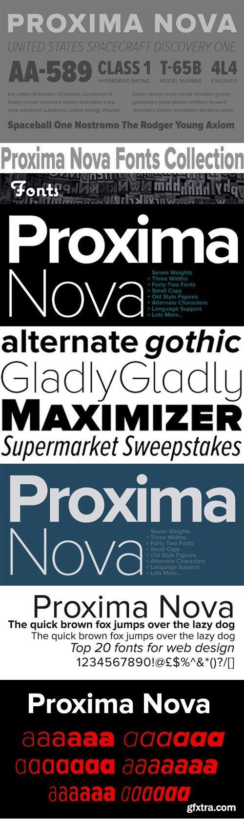 Proxima Nova Font Family - 126 Fonts for $644