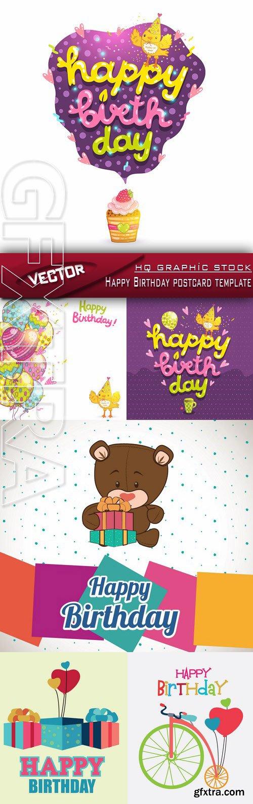 Stock Vector - Happy Birthday postcard template