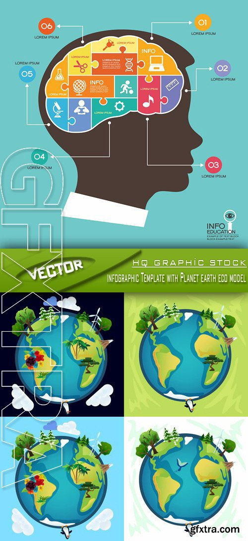 Stock Vector - Infographic Template with Planet earth eco model