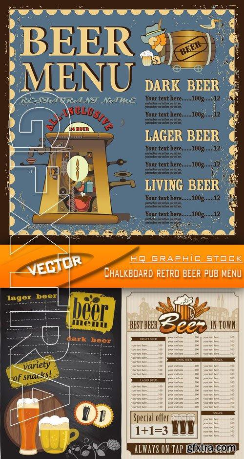Stock Vector - Chalkboard retro beer pub menu