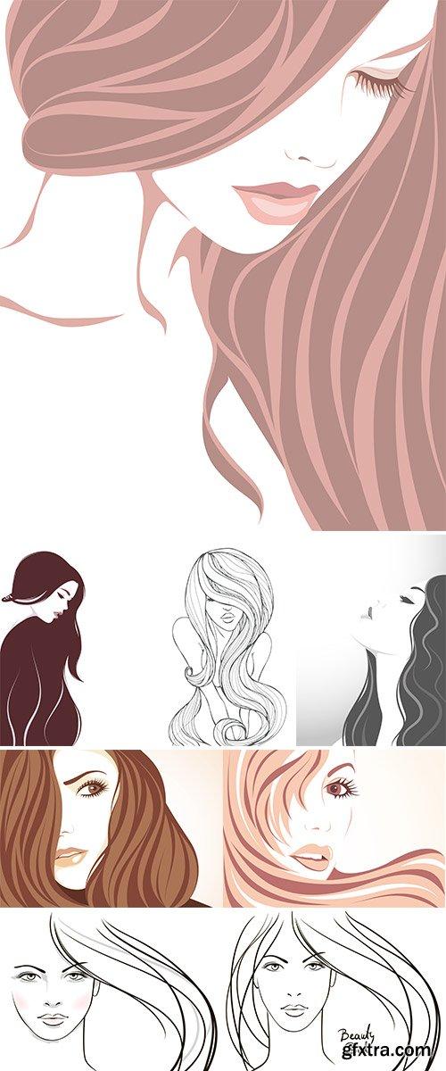 Stock: Beautiful girl with long hair