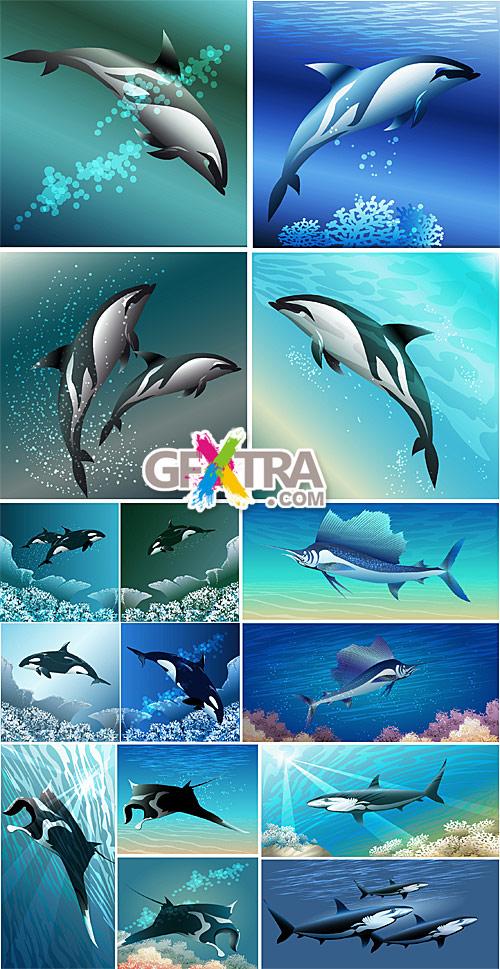 Sea animals on underwater backgrounds