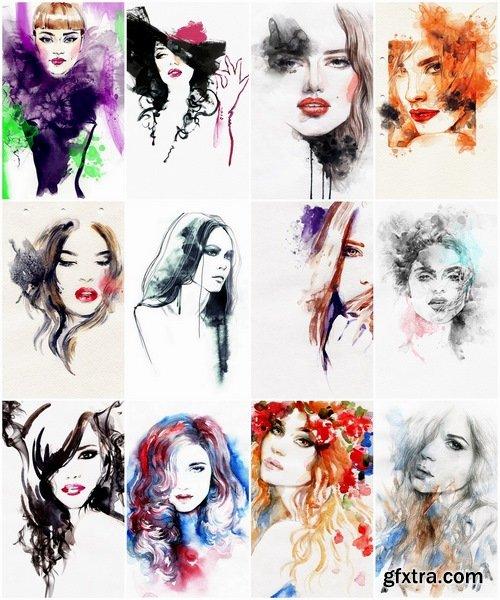 Watercolor Beautiful woman - 25 HQ Jpg