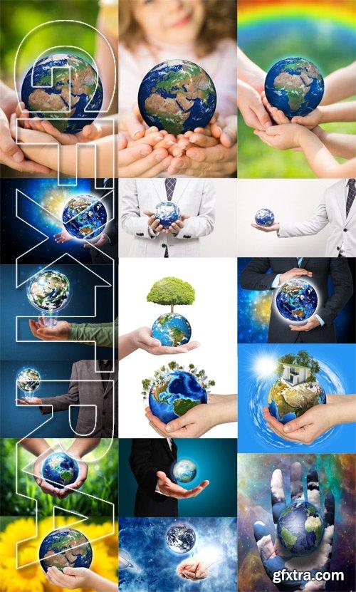 Stock Photos - Earth in hands, 25xJpg