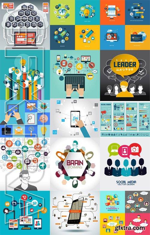 Stock Vectors - Social Network and Media, 25xEps
