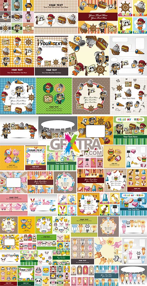 Cartoon cards and patterns 2