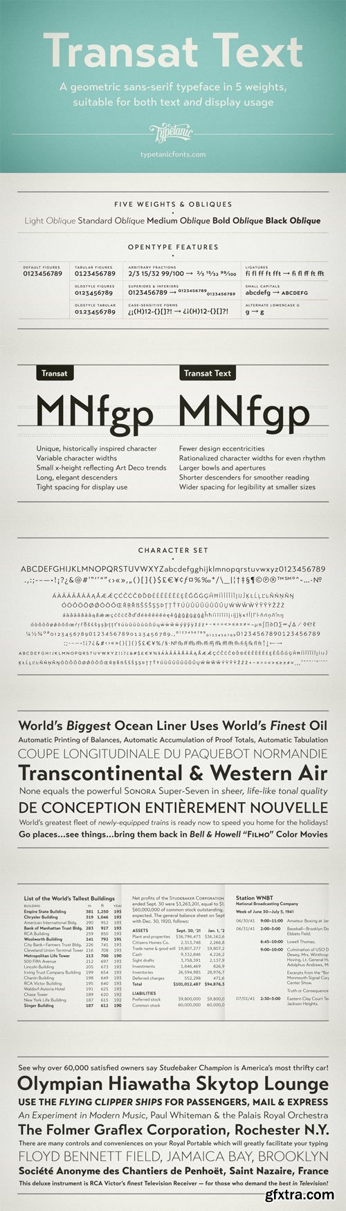 Transat Text Font Family - 10 Fonts for $72