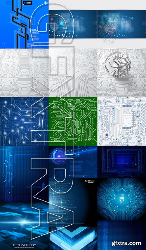 Stock Vectors - Abstract Technology Background 2, 25xEPS