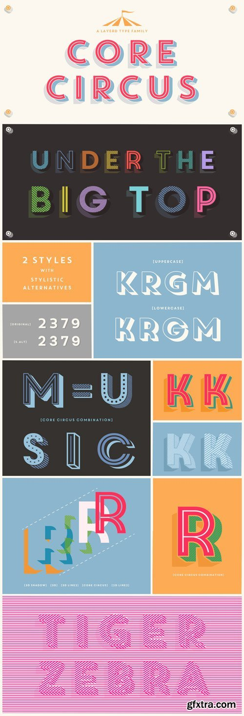 Core Circus Font Family - 20 Fonts for $140
