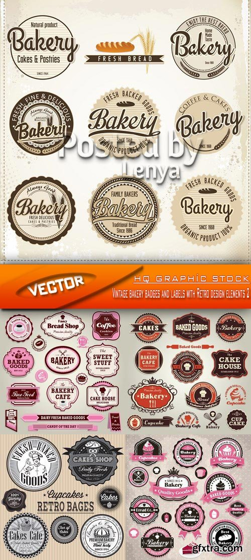 Stock Vector - Vintage bakery badges and labels with Retro design elements 2
