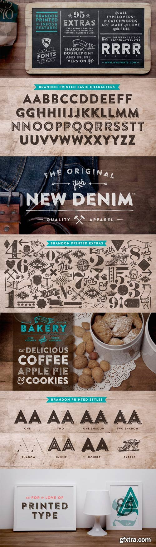 Brandon Printed Font Family - 8 Fonts For $99