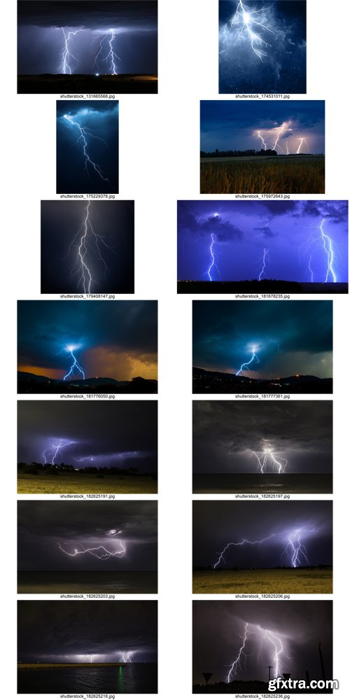 Stock Photos - Lightning Bolts, storm, gale, 25xJPG