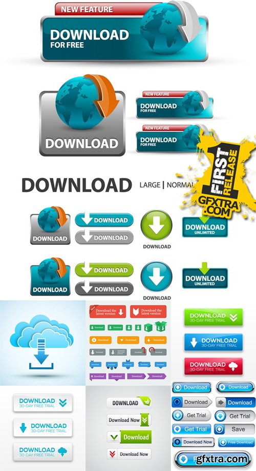 Stock Vectors - Download, Button, Banners, 25xEPS