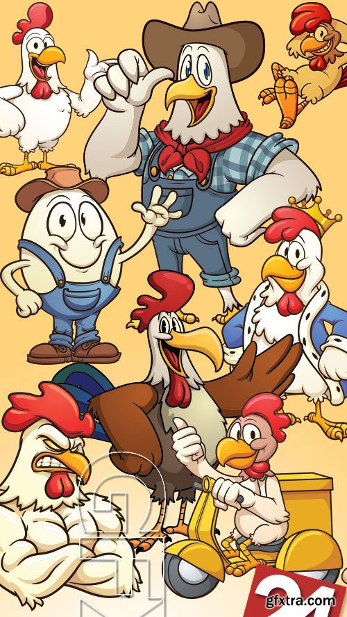 Creative Chicken Characters 24xEPS