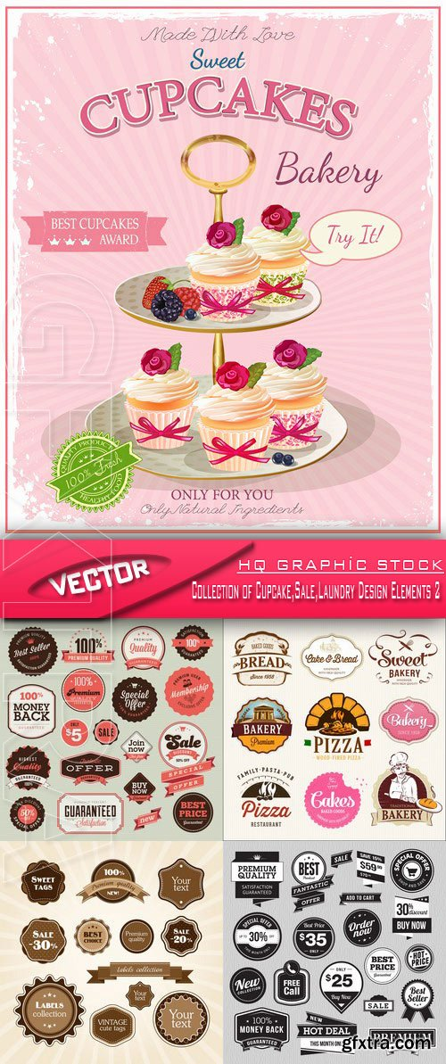 Stock Vector - Collection of Cupcake,Sale,Laundry Design Elements 2