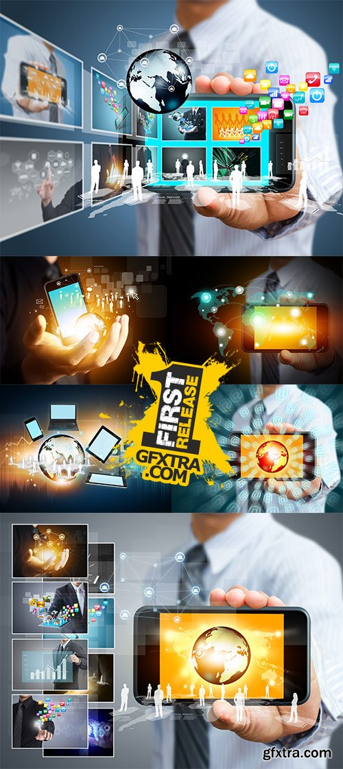 Stock Photo: Touch screen mobile phone with business concept
