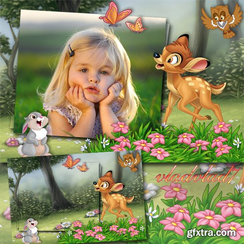 Children\'s Frame for Photoshop - Bambi and Thumper