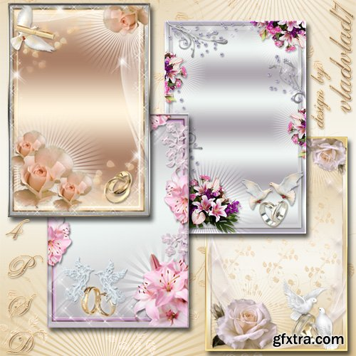 Wedding Photo frames - Lilies and roses, wedding bouquet