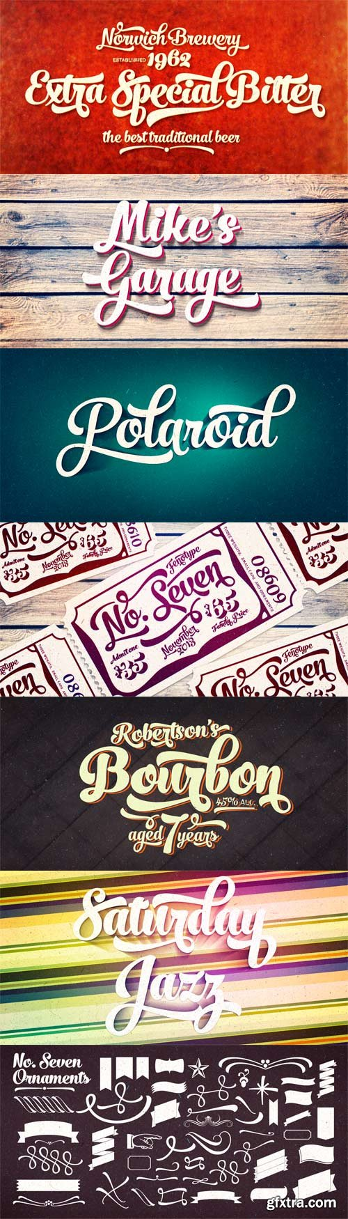 No. Seven Font Family - 5 Fonts for $65