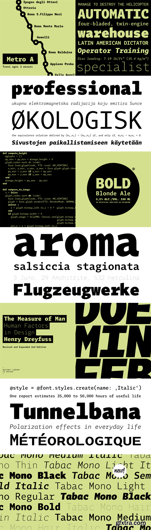 Tabac Mono Font Family - 16 Fonts for $359