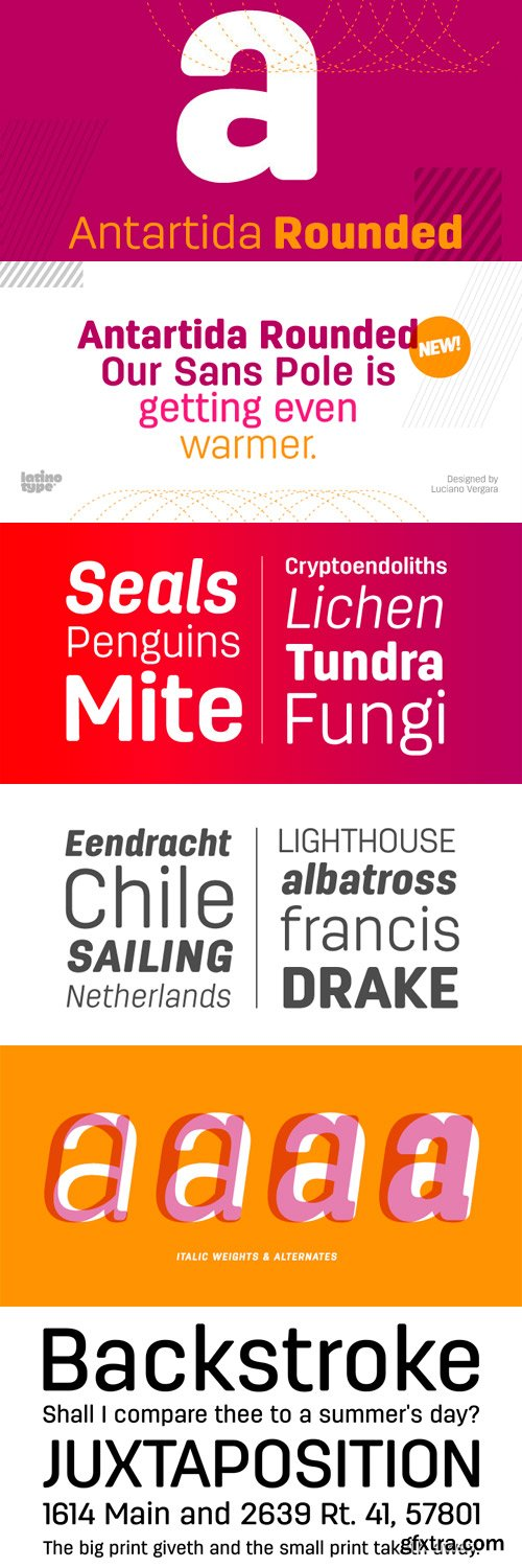 Antartida Rounded Font Family - 8 Fonts for $126