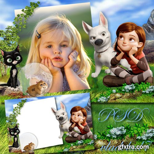 Baby frame for Photoshop with Bolt cartoon characters