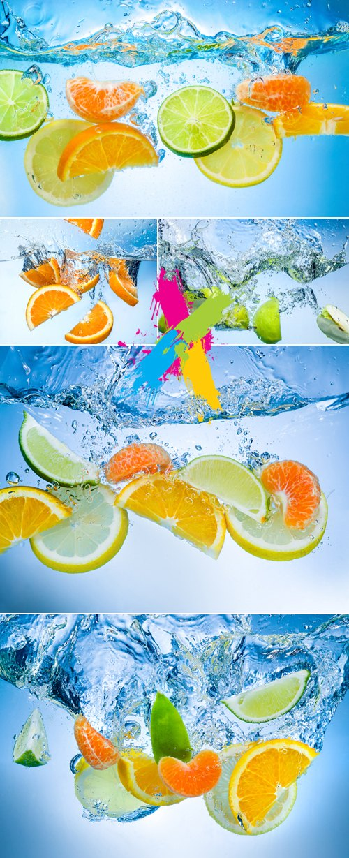 Stock Photo - Fruits in Splash of Water