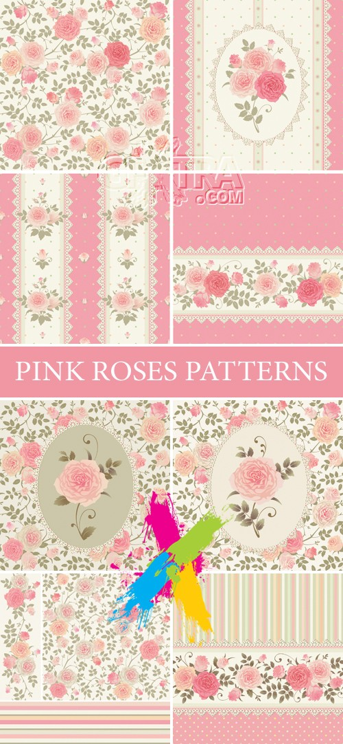 Pink Roses Patterns Cards Vector