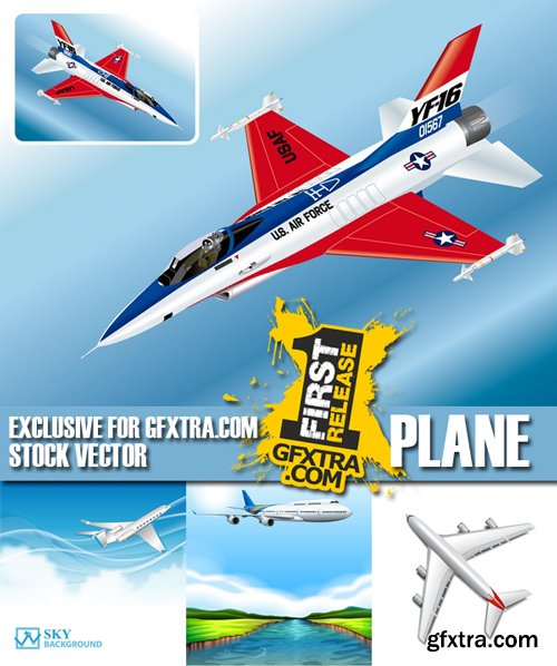 Stock Vectors - Plane, 25xEps