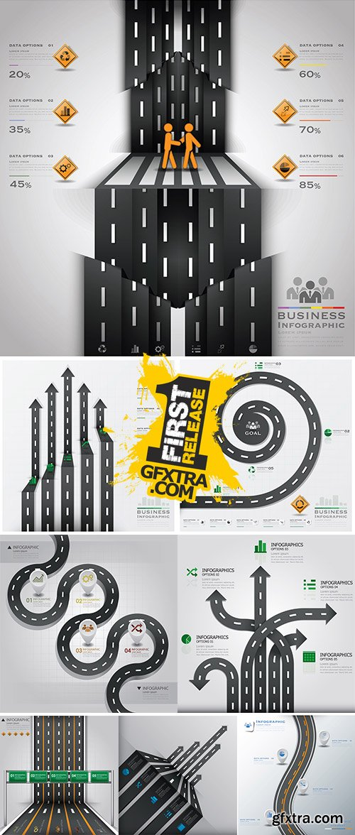 Stock: Road And Street Traffic Sign Business Infographic