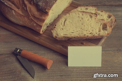 Business Card Mock up with Bread