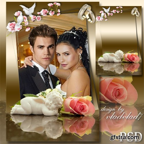 Wedding frame for Photoshop - Roses, doves and the sleeping Angel