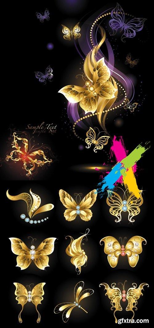 Golden Butterflies on Black Background Vector