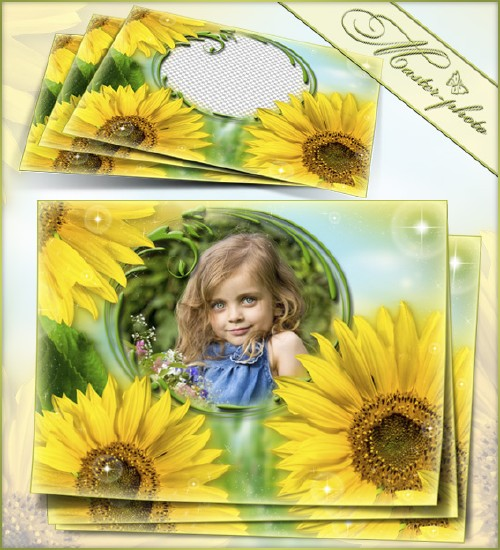 Summer frame for photoshop - Field of sunflowers
