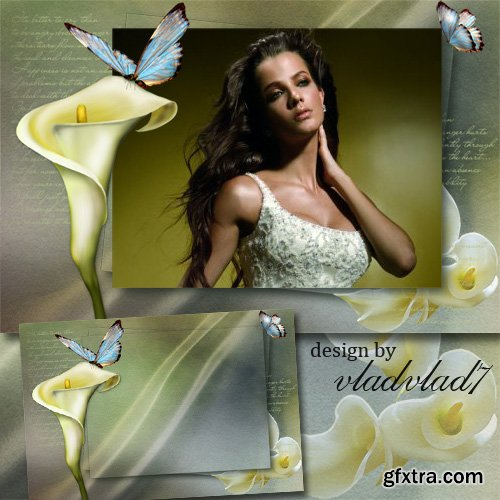 Vintage frame for Photoshop - Marvelous calla lily and butterflies