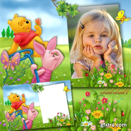 Baby frame for Photoshop - Winnie-the-Pooh, Piglet and butterflies