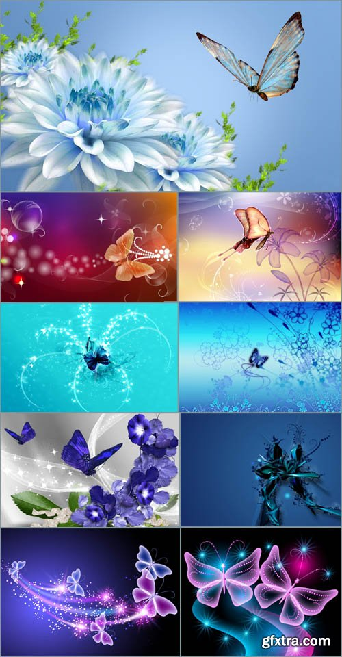 Backgrounds for design - Flowers and butterflies
