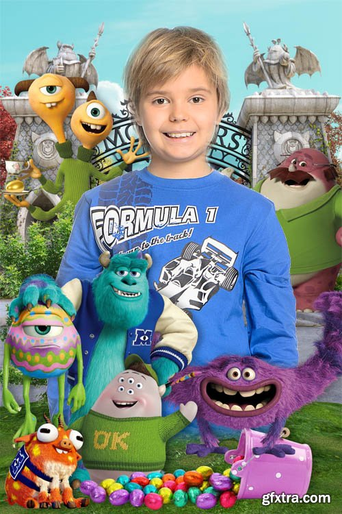 Baby frame with Monsters University cartoon characters - Easter