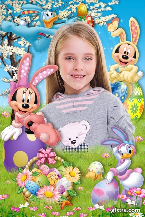 Baby frame with Disney cartoon characters - Easter