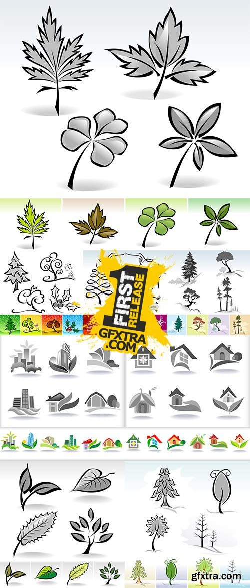 Stock: Leaf icons Calligraphic Illustration