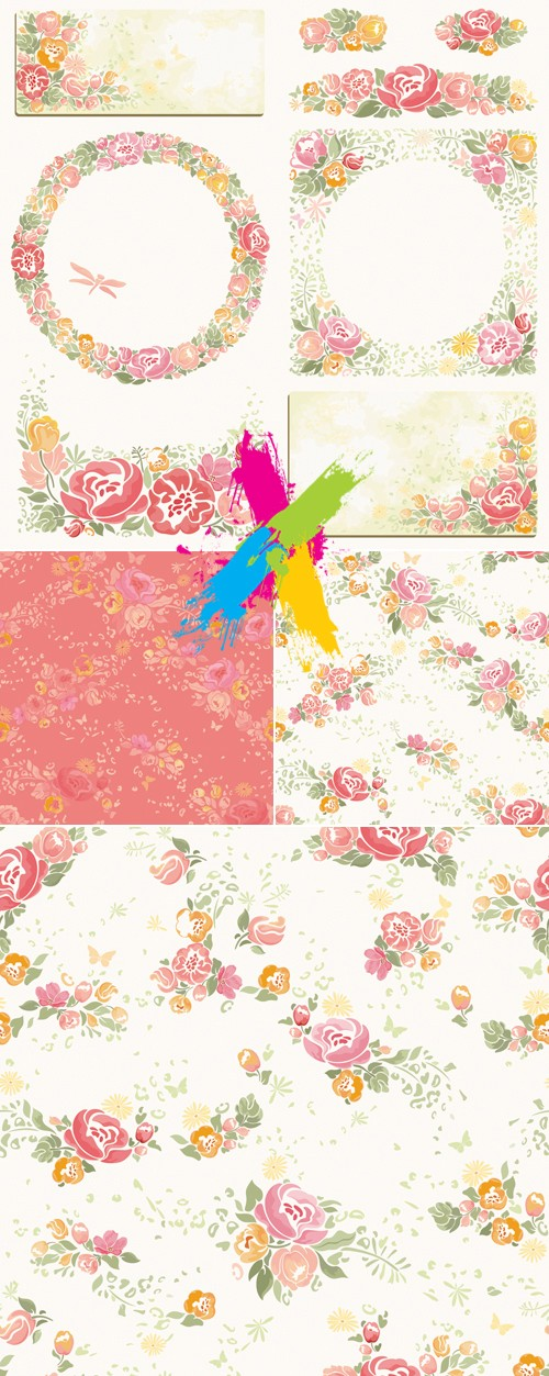 Roses Cards & Patterns Vector