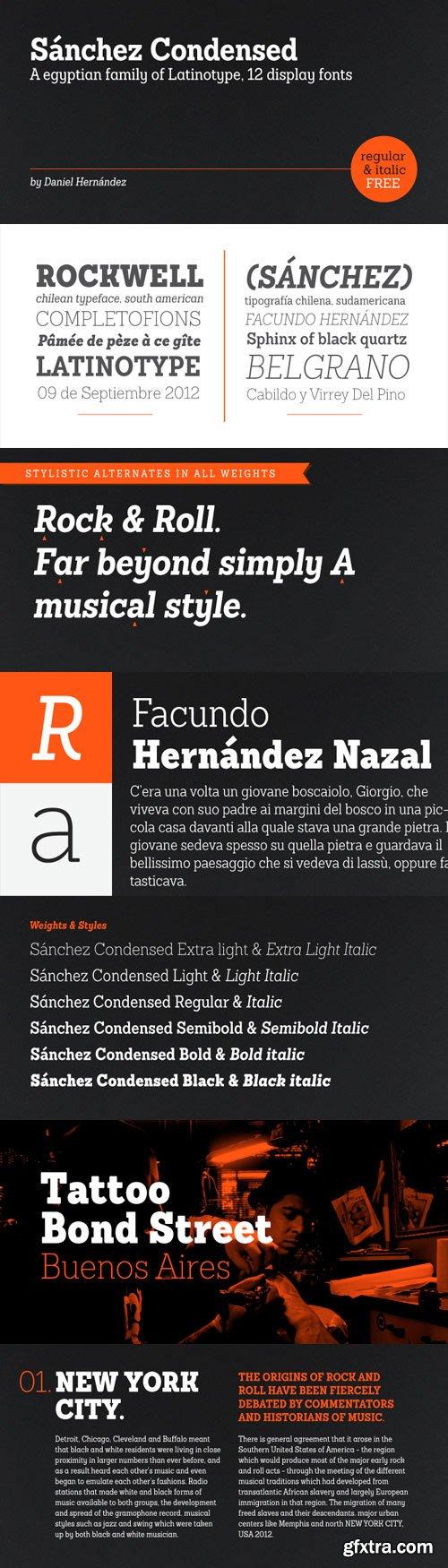 Sanchez Condensed Font Family - 12 Fonts for $126