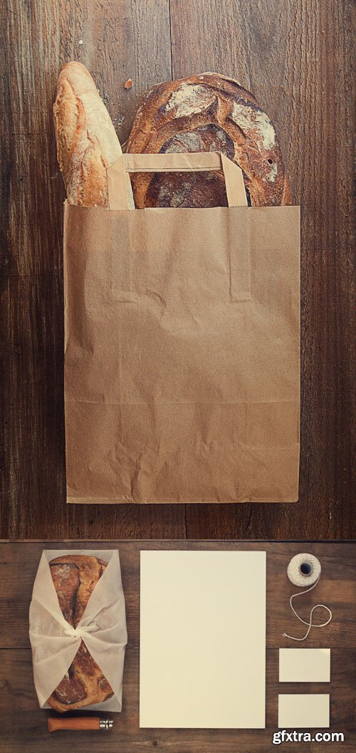 Bread Bag and Stationery Mock up PSD