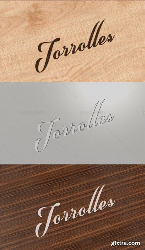 3 Logo Mock up Templates with wood Background
