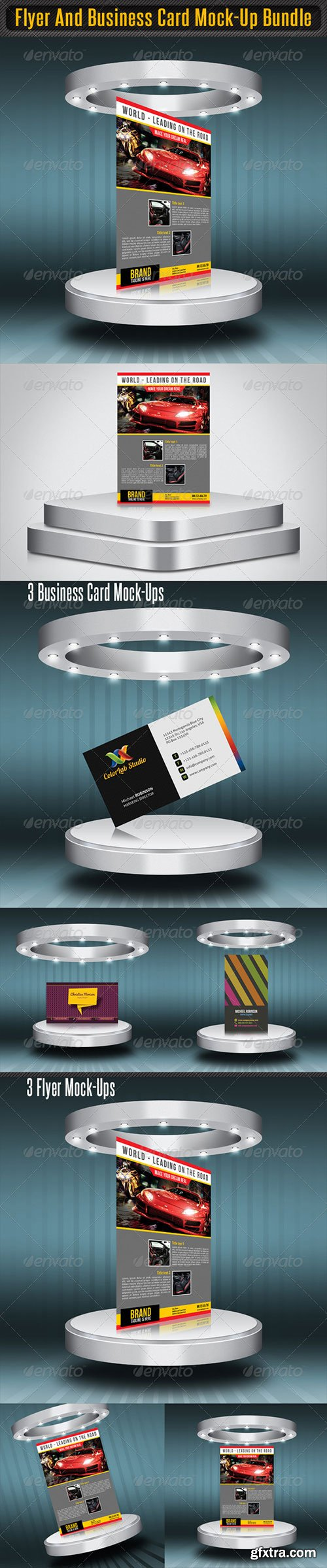 Vector photoshop psdafter effects tutorials template 3d page graphicriver flyer and business card mock up bundle reheart Image collections